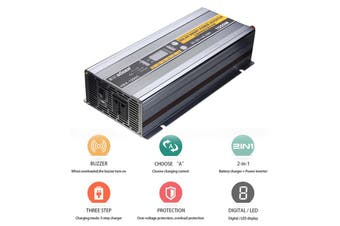 2 In 1 1000W DC 12V To AC 220V 30A Solar Car Auto Power Inverter Battery Charger (silver)