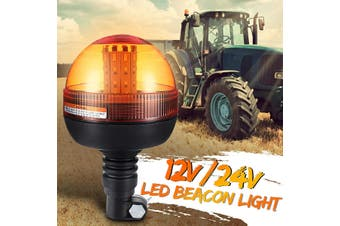 LED Rotating Flashing Amber Beacon Flexible DIN Pole mount Tractor Warning Light 12-24V