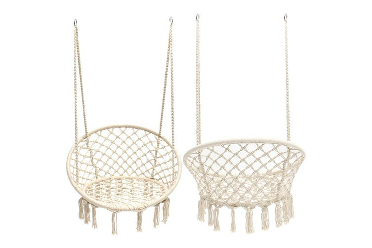 Beige Hanging Cotton Rope Macrame Hammock Chair Swing Outdoor Home Garden 120kg Matt Blatt