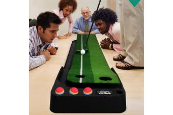 Golf Simulator Practice Mat Blanket Dual Track Putting for Indoor Outdoor with Ball Return 9.8 Feet