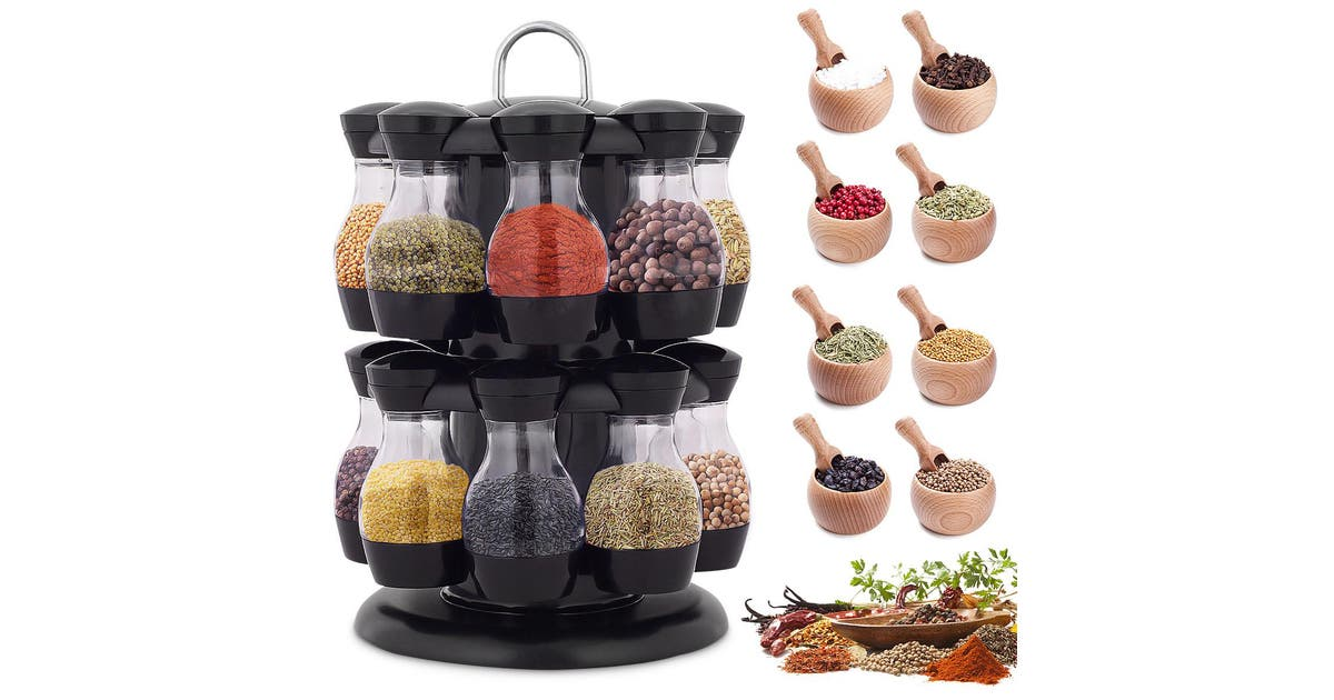 16 Jar Rotating Spice Rack Carousel Kitchen Storage Holder Condiments Container Matt Blatt
