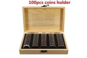 High Quality 100PCS 25mm/27mm/30mm Round Coins Holders Container Coins Display Case Storage Wooden Box