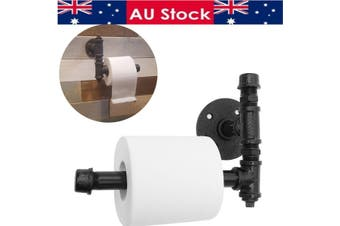Industrial Toilet Paper Roll Holder Pipe Shelf Bracket Wall Mounted Bath Rack