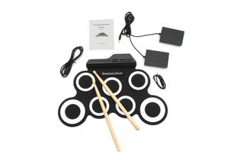 7 In 1 Portable 7 Key Digital Electronic Silicone Roller Up USB Drum Pads Kit