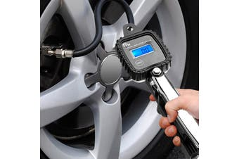 LCD Digital Display High Precision 0.05kg/cm2 Resolution Tyre Inflator Air Pressure Tire Gauge PSI With Hose For Car Motorcycle