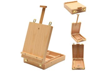 Liftable Wooden Easel Portable Desktop Sketch Easel Oil Painting Box Drawing Painting Table Box Art Supplies