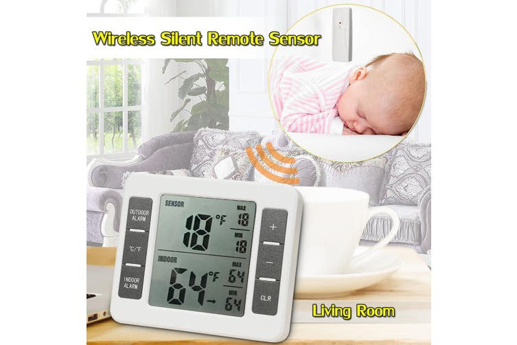 2 Sensor Wireless Digital Thermometer Freezer Fridge Indoor Outdoor Alarm Magnet