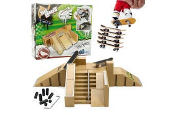 Ultimate Skate Park Ramp Parts With 3 Tech Deck Fingerboard Finger Board Toy 92B