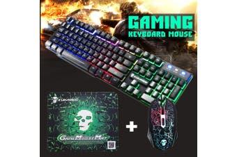 Rainbow Backlight USB Ergonomic Gaming Keyboard + 2400DPI Mouse + Mouse Pad