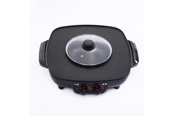 LARGE BBQ ELECTRIC PAN COMPLETE SET Black Coat Plate Shabu Grill Boil Soup Thai