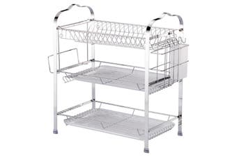 CHROME 3 Layer Tier Chrome Metal Dish Drainer Cutlery Holder Rack Drip Tray 8392