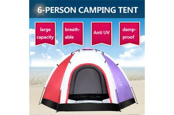 6 Person Instant Tent Pop-Up Camping Tent Set Hiking Fishing Up in Second Carry