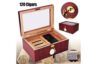 120 Count Large Lined Leather Cedar Wood Cigar Humidor Case Box with Hygrometer Humidor Lock 2pcs Keys