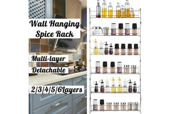 Multi-layers Spice Rack Storage Holder Wall Hanging Shelf Organizer for Kitchen Bathroom Chrome-plating Iron