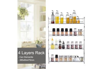 4 Tier Kitchen Spice Rack Cabinet Organizer Door Wall Mount Storage Shelf Holder