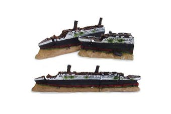 Aquarium Fish Tank Medium Ship Wreck Ornaments Hideaway Underwater Landscaping