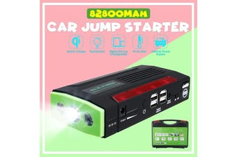 12V 2A 82800mAh/69800mAh Portable Car Jump Starter Pack Booster Charger Battery Power Bank Rechargeable Jumper(green,Car Jump Starter)