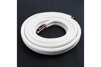 """1/4"""" 1/2"""" Air Conditioner Pair Coils Tube 5m Insulated Copper Pipes Twin Lines"""