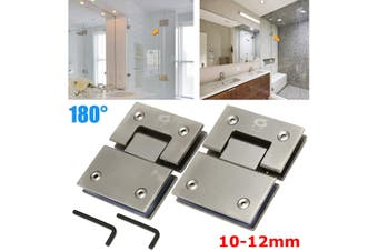 A Pair Stainless Steel 180° Frameless Glass to Glass Shower Door Hinge Bracket