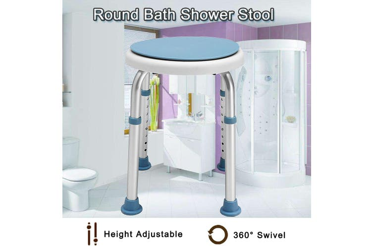 Aluminium Shower Chair Stool Adjustable Swivel Soft Seat Bathtub Bench Bathroom