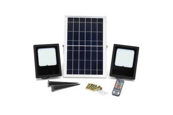 2in1 Solar Floodlight 15W 120 LED Solar Street Wall Lights Waterproof IP65 with Solar Panel and Remote Controller + Light Sensor Outdoor Security For Patio Porch Yard Garden Garage