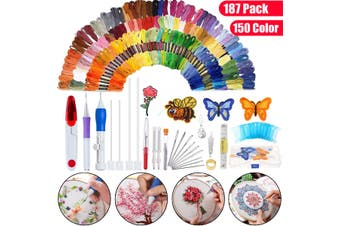 187 In 1 Magic DIY Embroidery Needle Pen Knitting Sewing Tool Kit w/150 Threads
