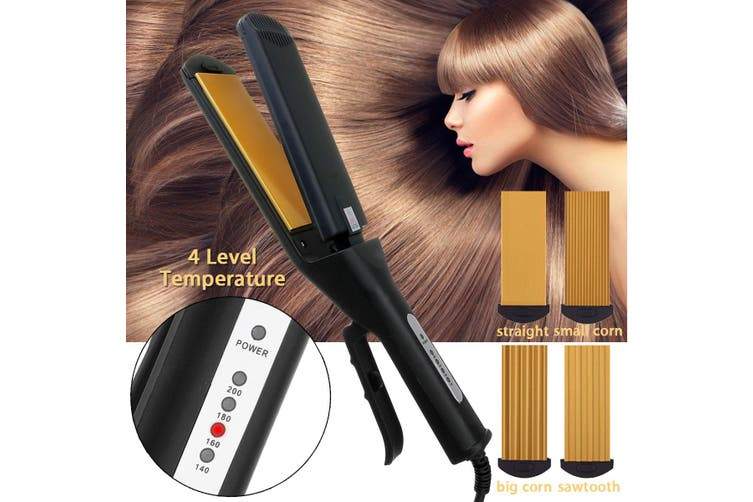 Pro 4 in 1 Replaceable Ceramic Curling Flat Iron Hair Crimper Straightener 2020