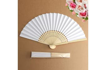 BUY MORE SAVE MORE30PCS White Hand Paper Fan Folding Chinese Style Carved Bamboo Retro Decor Gift
