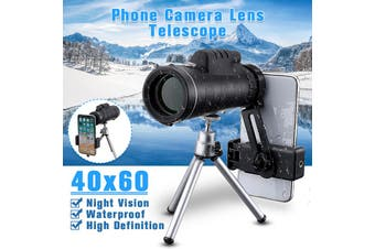 40x60 Monocular Telescope Focus Zoom HD Lens Tripod Phone Clip Outdoor Hunting