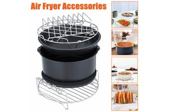 8inch 6Pcs Set Healthy Air Fryer Accessories Cake Pizza Barbecue Baking 6 in 1