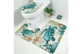 3pcs Toilet Seat Cushion Toilet Cover Mat and Pedestal Rug Mat and Bath Mat Sea Turtles Style