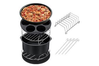 8inch 7Pcs Air Fryer Accessories Set Chips Baking Basket Pizza Pan Kitchen Tool UK