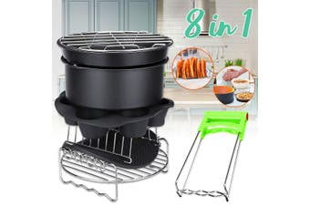 8inch 8Pcs Air Fryer Accessories Set Chips Baking Pizza Pan Kitchen Tool 5.2~5.8QT