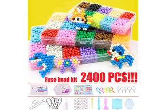LBLA 15 Color Fuse Bead Kit Magic Water Sticky Beads Art Crafts Education Toys for Children Kids Beginners(2400pcs kit)
