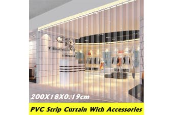 Freezer Room PVC Plastic Strip Curtain Door Strip Kit Hanging Rail 200*18*0.19cm