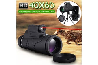 40X60 Zoom HD Lens BAK4 Prism Phone Monocular With Laser/LED Flashlight Tripod