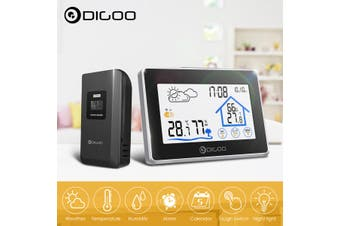Digoo DG-TH8380 Wireless Touch Screen Weather Station Thermometer Outdoor Forecast Sensor Clock - Black