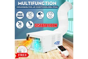 【Free Shipping + Flash Deal】1100W 3754BTU Window Air Conditioner Cooler Heating Timing Wall Box W/ Remote Control + Exhaust Hose AC 220V