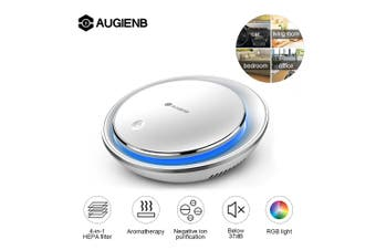 AUGIENB Ionizer Car Air Purifier 4-In-1 True HEPA Filter RGB light Removes Dust