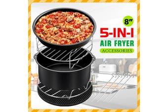 8Inch Air Fryer Accessories Set Chips Baking Basket Rack For Phillips 4.2QT-6.8QT