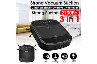 Auto Robot Vacuum Cleaner and Mop with Max Power Suction Low Noise Self-Charging - AU Plug(black,AU Plug)