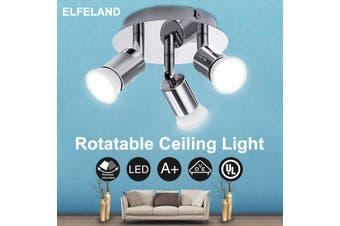 Elfeland 220V 3 Way Adjustable Modern Ceiling Light Wall Lamp Spotlight Down light Home
