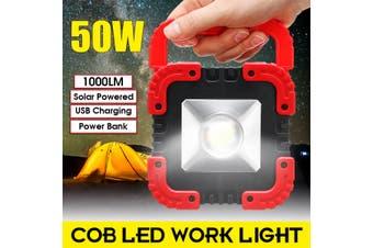 Portable USB Spotlight Solar LED COB Work Light Lamp Outdoor Camping 50W
