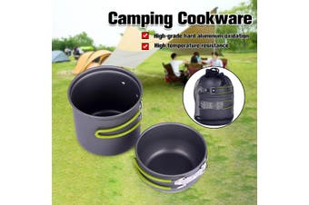 2pc Portable Camping Cookware Set Foldable Outdoor Hiking Picnic Pot / Lid / Bag