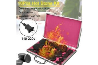 16Pcs Hot Massage Stone Volcanic Stones Kit Rock SPA Oiled Massager Box(Type4)