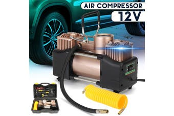 35L/M(150psi) 150-170W Portable Motor Car Tyre Tire Inflator Double-Cylinder Pump Air Compressor Emergency Tire Inflator Car Repair Tool With Storage Box DC12V