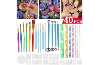 40Pcs Mandala Dotting Tools Set Rock Painting Kit Nail Art Pen Paint Stencil