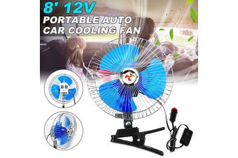 8'' 12V Mini Portable Vehicle Fan Oscillating Car Auto Clip-On Cooling Fan