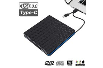 【Free Shipping + Flash Deal】External DVD Drive, M WAY USB 3.0 Type C CD Drive, Dual Port DVD-RW Player, Portable Optical Burner Writer Rewriter, High Speed Data Transfer(USB 3.0 Type C)