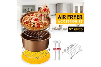 6Pcs 9'' Non-stick Air Fryer Accessories Barbecue Cake Barrel Pan Fit 5.3-6.8QT